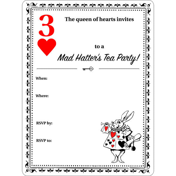 Alice In Wonderland Party FREE Printable Invitation My Sweet Muffin