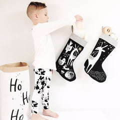 Wee Gallery Winter Animals Stocking, White on Black