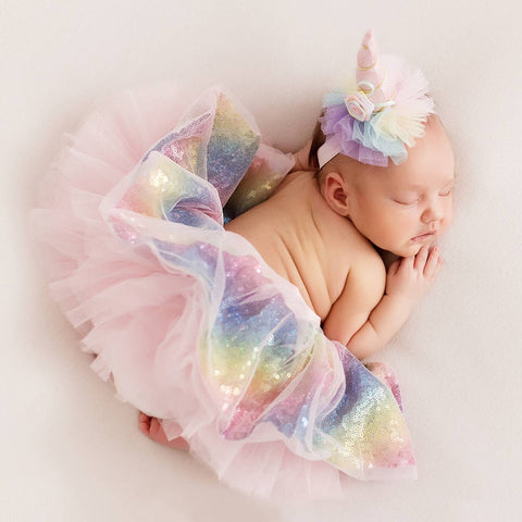 Unicorn Newborn Baby Girl Glitter Tutu with Headband