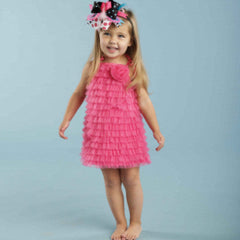 Hot Pink Chiffon Ruffle Dress