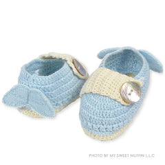 Winged Baby Booties, Blue