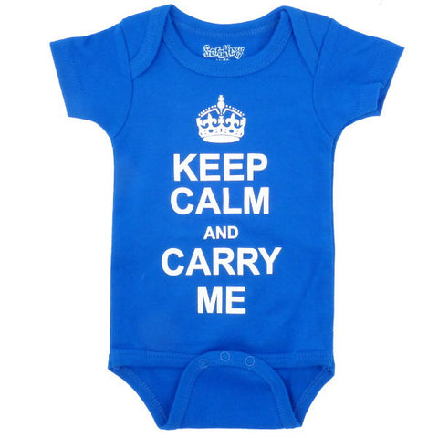 Keep Calm and Carry Me Onesie, Blue