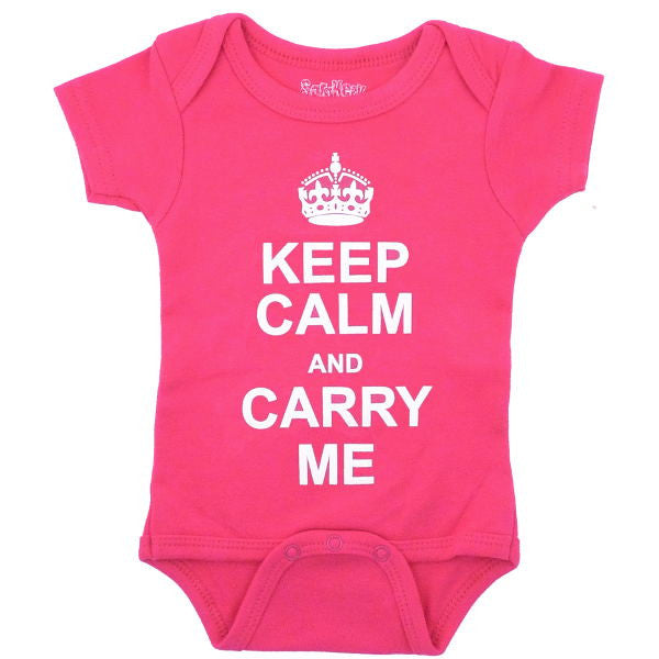 Keep Calm and Carry Me Onesie, Pink
