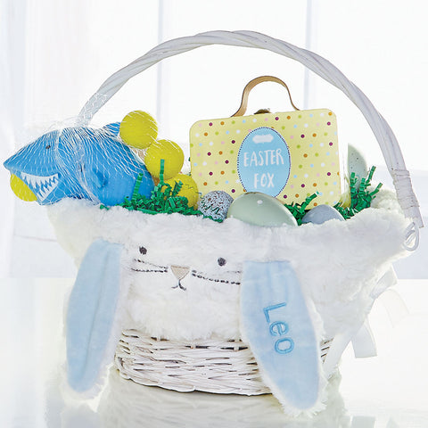 Plush Bunny Easter Wicker Basket, Blue