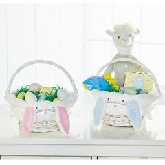Plush Bunny Easter Wicker Basket, Pink