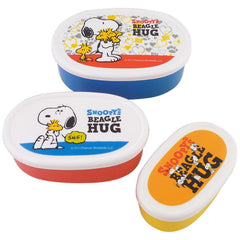 Snoopy 3pcs Oval Lunch Box Set, Hug