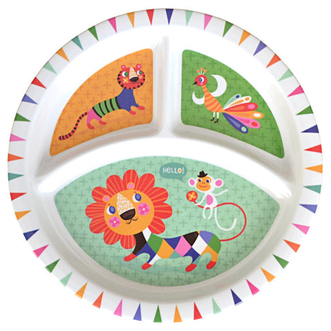 Petit Monkey Lion & Friends Melamine Divided Plate