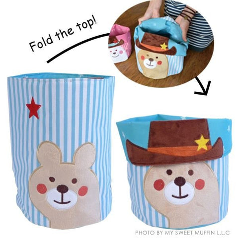 Sheriff Bear Canvas Bin, Large