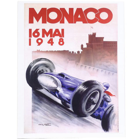 Retro Racing Poster, Blue