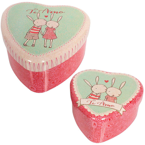 Maileg Heart Tin Set, Rabbits
