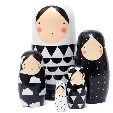 Petit Monkey Nesting Dolls, Black & White