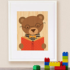 Print on Wood, Reading Bear