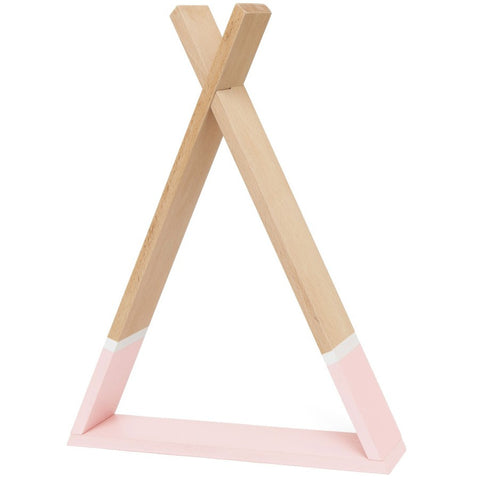Petit Monkey Tipi Wooden Shelf, Pink