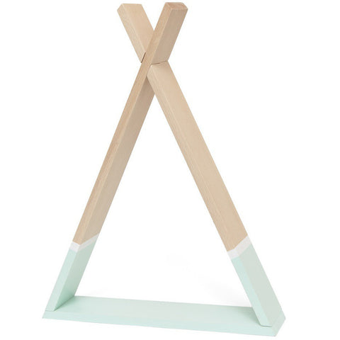 Petit Monkey Tipi Wooden Shelf, Mint