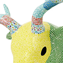 Wall Hanging Paper Mache Deer Head, Green/Yellow