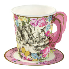 Alice Tea Party Paper Cup & Saucers, 12 Pack