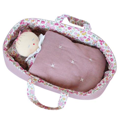 Alimrose Asleep Awake Baby Doll with Carrier, Flowers