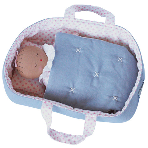 Alimrose Asleep Awake Baby Doll with Carrier, Pink Stars