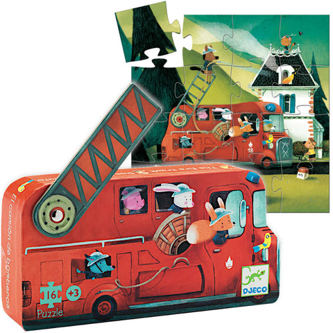 Djeco 16pcs Mini Puzzle, Fire Truck