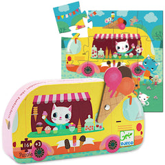 Djeco 16pcs Mini Puzzle, Ice Cream Truck