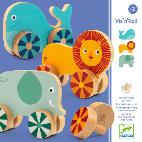 Djeco Vis'n Roll Wooden Animals