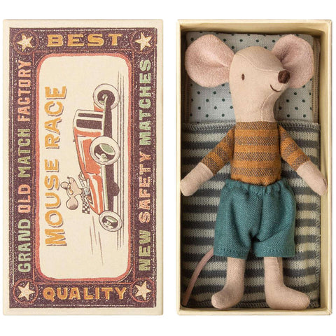 Maileg Big Brother Mouse in a Box, Brown Stripe
