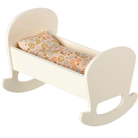 Maileg Wooden Cradle with Bedding, White