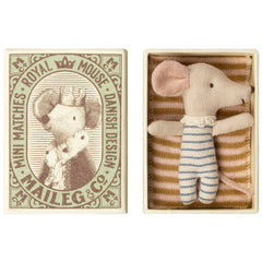 Maileg Sleepy Wakey Baby Mouse in Box, Blue, NEW