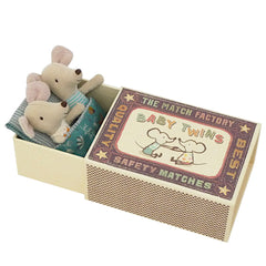 Maileg Baby Twin Mice in a Box, Flower Sleeping Bag