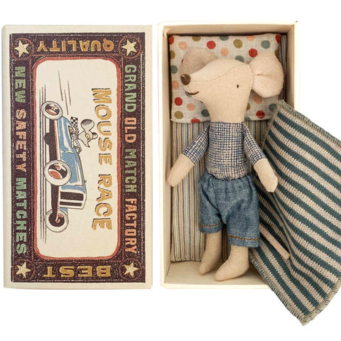 Maileg Big Brother Mouse in a Box, Denim Pants