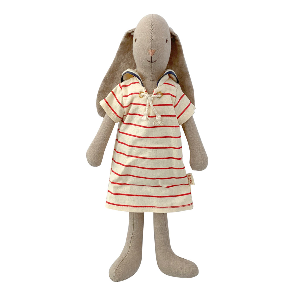 Maileg Bunny in Striped Dress, Size 2, 10 inches