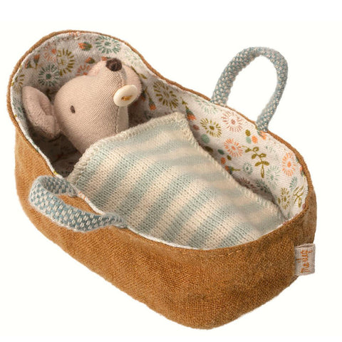 Maileg Baby Mouse in Carry Cot with Striped Blanket