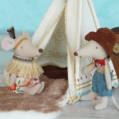 Maileg Little Feather Mouse with Tent