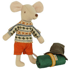 Maileg Big Brother Hiking Mouse with Sleeping Bag, NEW