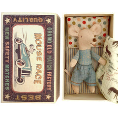 Maileg Little Brother Mouse in a Box, Denim Pants