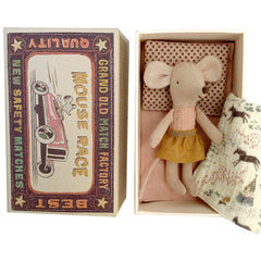 Maileg Little Sister Mouse in a Box, Gold Skirt