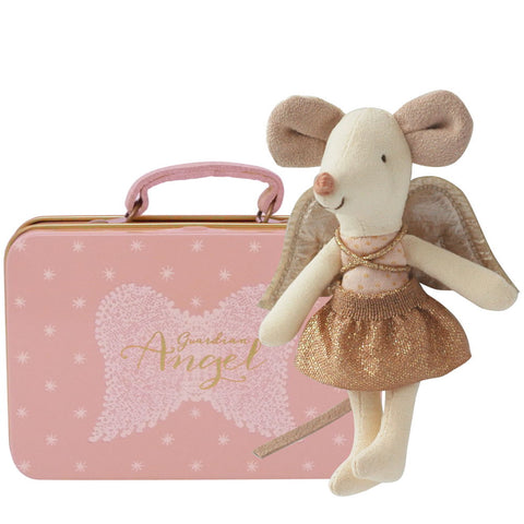 Maileg Guardian Angel Little Sister Mouse in Suitcase