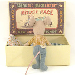 Maileg Little Brother Mouse in a Box, Grey Pants