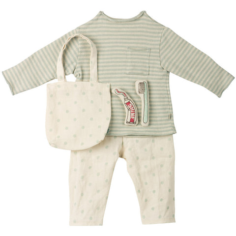 Maileg Mega Mouse Sleepwear Set, Mint Blue