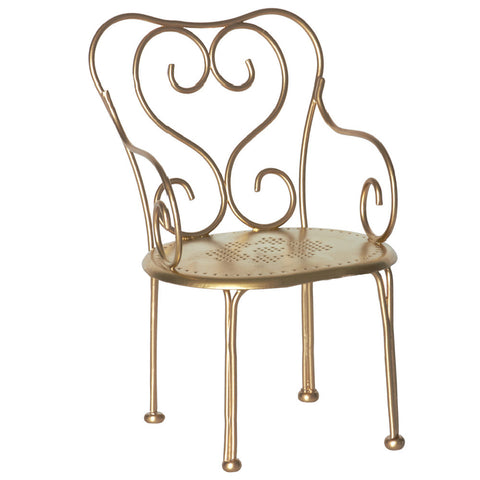 Maileg Romantic Metal Chair, Vintage Gold