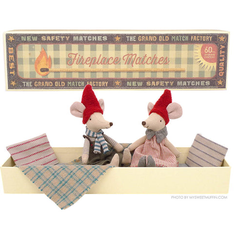Maileg Christmas Mom & Dad Mouse in Matchbox Bed
