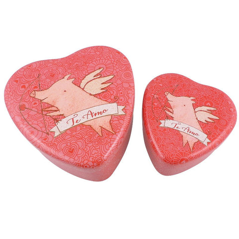 Maileg Heart Tin Set, Pig