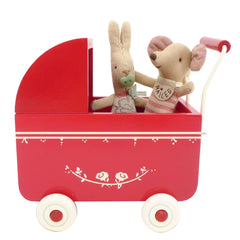 Maileg Mini Doll Pram, Red