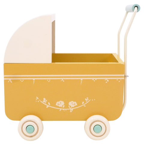 Maileg Mini Doll Pram, Yellow