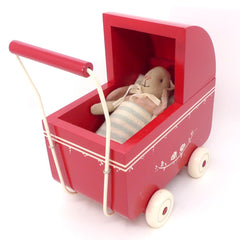 Maileg Wooden Pram, Red
