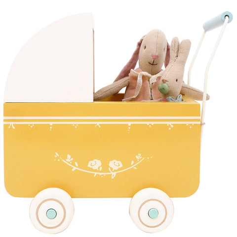 Maileg Wooden Pram, Yellow