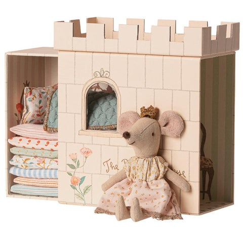 Maileg Princess Mouse and the Pea, Pink Castle