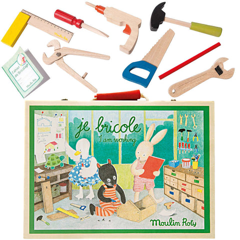 Moulin Roty La Grande Famille Wooden Tool Valise