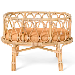 Poppie Doll sized Rattan Crib Clay