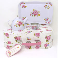 Rose Tea Set in a Suitcase